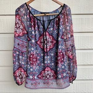 White House Black Market Women's Floral Boho Shirt